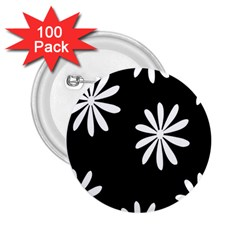Black White Giant Flower Floral 2 25  Buttons (100 Pack)  by Alisyart