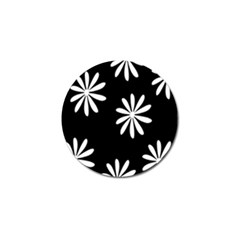 Black White Giant Flower Floral Golf Ball Marker (4 Pack) by Alisyart