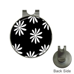 Black White Giant Flower Floral Hat Clips With Golf Markers by Alisyart