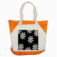 Black White Giant Flower Floral Accent Tote Bag by Alisyart
