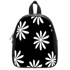 Black White Giant Flower Floral School Bags (small)  by Alisyart