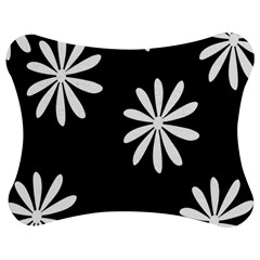 Black White Giant Flower Floral Jigsaw Puzzle Photo Stand (bow) by Alisyart