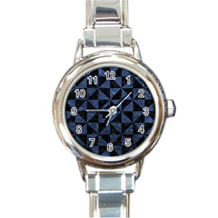 Triangle1 Black Marble & Blue Stone Round Italian Charm Watch by trendistuff