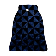 Triangle1 Black Marble & Blue Stone Bell Ornament (two Sides) by trendistuff