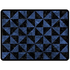 Triangle1 Black Marble & Blue Stone Double Sided Fleece Blanket (large) by trendistuff