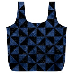 Triangle1 Black Marble & Blue Stone Full Print Recycle Bag (xl) by trendistuff