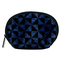 Triangle1 Black Marble & Blue Stone Accessory Pouch (medium) by trendistuff