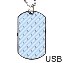 Blue Butterfly Line Animals Fly Dog Tag Usb Flash (two Sides) by Alisyart