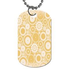Wheels Star Gold Circle Yellow Dog Tag (two Sides) by Alisyart