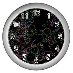 Boxs Black Background Pattern Wall Clocks (silver)  by Simbadda