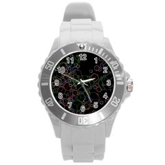 Boxs Black Background Pattern Round Plastic Sport Watch (l) by Simbadda