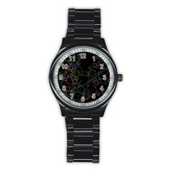Boxs Black Background Pattern Stainless Steel Round Watch by Simbadda