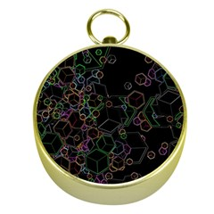 Boxs Black Background Pattern Gold Compasses by Simbadda