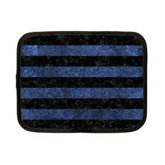 Stripes2 Black Marble & Blue Stone Netbook Case (small) by trendistuff