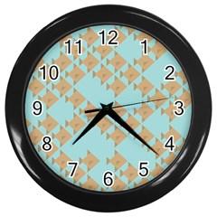 Fish Animals Brown Blue Line Sea Beach Wall Clocks (black) by Alisyart