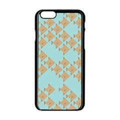 Fish Animals Brown Blue Line Sea Beach Apple Iphone 6/6s Black Enamel Case by Alisyart