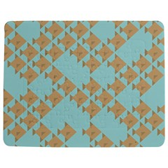 Fish Animals Brown Blue Line Sea Beach Jigsaw Puzzle Photo Stand (rectangular) by Alisyart