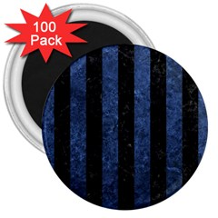 Stripes1 Black Marble & Blue Stone 3  Magnet (100 Pack) by trendistuff