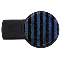 Stripes1 Black Marble & Blue Stone Usb Flash Drive Round (2 Gb) by trendistuff