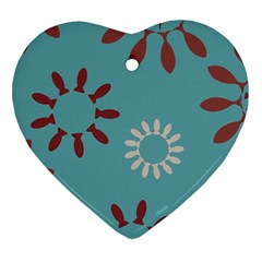 Fish Animals Star Brown Blue White Heart Ornament (two Sides) by Alisyart