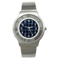Square2 Black Marble & Blue Stone Stainless Steel Watch by trendistuff