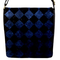 Square2 Black Marble & Blue Stone Flap Closure Messenger Bag (s) by trendistuff