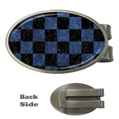 Square1 Black Marble & Blue Stone Money Clip (oval) by trendistuff