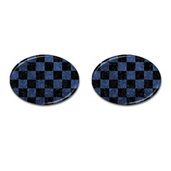 Square1 Black Marble & Blue Stone Cufflinks (oval) by trendistuff