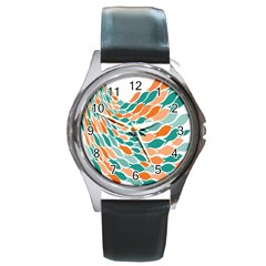 Fish Color Rainbow Orange Blue Animals Sea Beach Round Metal Watch by Alisyart