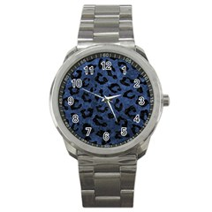 Skin5 Black Marble & Blue Stone Sport Metal Watch by trendistuff