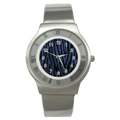Skin4 Black Marble & Blue Stone (r) Stainless Steel Watch by trendistuff