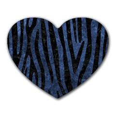 Skin4 Black Marble & Blue Stone Heart Mousepad by trendistuff