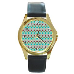 Large Circle Rainbow Dots Color Red Blue Pink Round Gold Metal Watch by Alisyart
