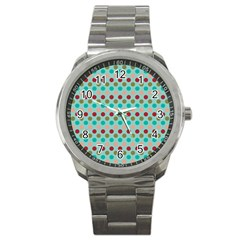 Large Circle Rainbow Dots Color Red Blue Pink Sport Metal Watch by Alisyart