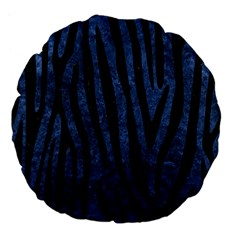 Skin4 Black Marble & Blue Stone Large 18  Premium Flano Round Cushion  by trendistuff