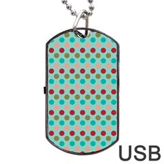 Large Circle Rainbow Dots Color Red Blue Pink Dog Tag Usb Flash (two Sides) by Alisyart