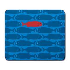 Fish Line Sea Beach Swim Red Blue Large Mousepads by Alisyart