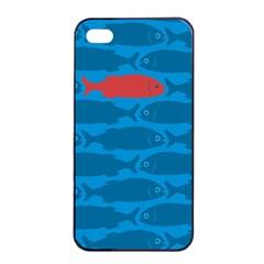 Fish Line Sea Beach Swim Red Blue Apple Iphone 4/4s Seamless Case (black) by Alisyart