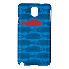 Fish Line Sea Beach Swim Red Blue Samsung Galaxy Note 3 N9005 Hardshell Case by Alisyart