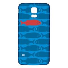 Fish Line Sea Beach Swim Red Blue Samsung Galaxy S5 Back Case (white) by Alisyart