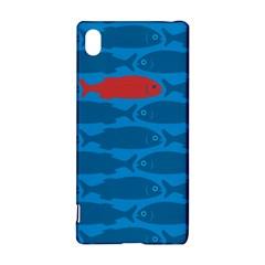 Fish Line Sea Beach Swim Red Blue Sony Xperia Z3+ by Alisyart