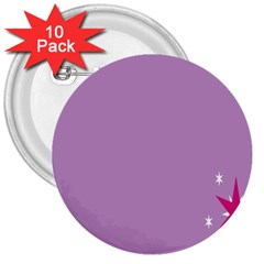 Purple Flagred White Star 3  Buttons (10 Pack)  by Alisyart