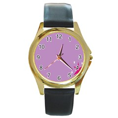 Purple Flagred White Star Round Gold Metal Watch