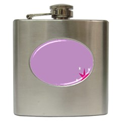 Purple Flagred White Star Hip Flask (6 Oz) by Alisyart