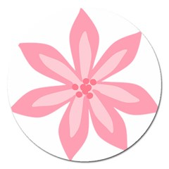 Pink Lily Flower Floral Magnet 5  (round) by Alisyart