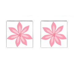 Pink Lily Flower Floral Cufflinks (square) by Alisyart