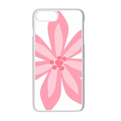 Pink Lily Flower Floral Apple Iphone 7 Plus White Seamless Case by Alisyart