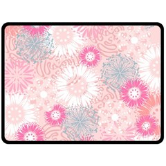 Flower Floral Sunflower Rose Pink Double Sided Fleece Blanket (large)  by Alisyart