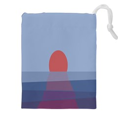 Sunrise Purple Orange Water Waves Drawstring Pouches (xxl) by Alisyart