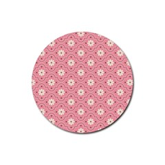 Pink Flower Floral Rubber Coaster (round)  by Alisyart